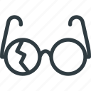 broken, crushed, fragile, glasses icon