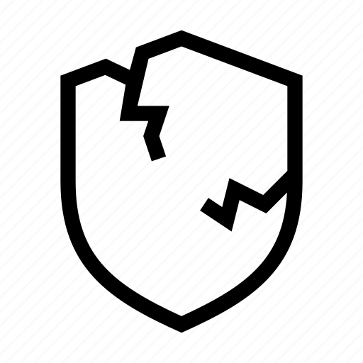 broken, demaged, error, fail, protect, security, shield icon