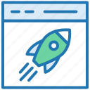 fast, launch website, marketing, rocket startup, web launching, website launch icon
