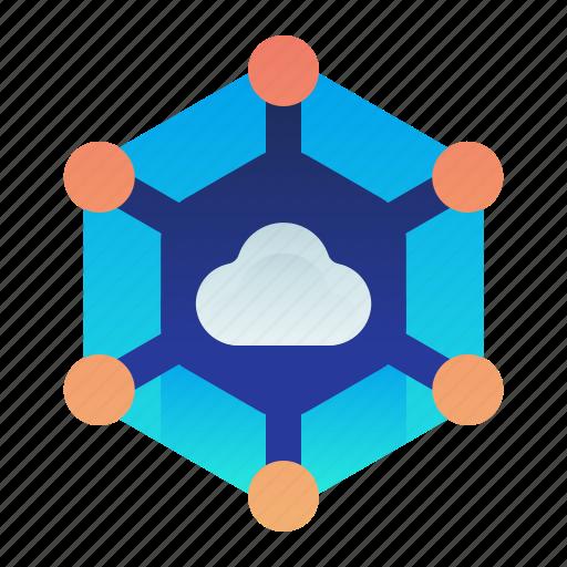 cloud, communication, community, network, share icon