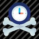 bones, clock, dead, deadline, time icon