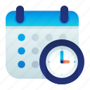calendar, clock, effeciency, service, time icon
