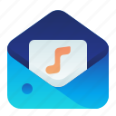 content, letter, mail, message, music icon