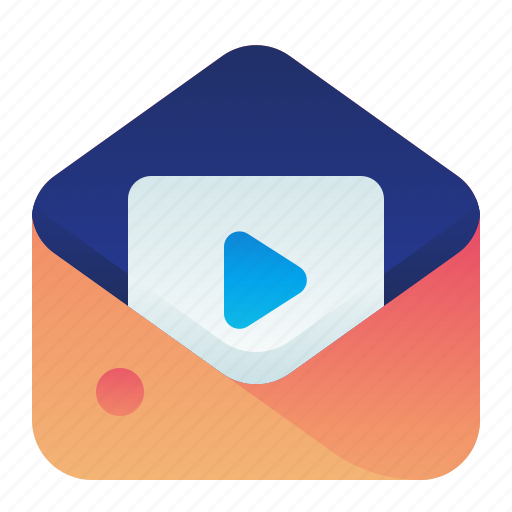 content, letter, mail, message, video icon
