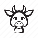animal, cow, cute, front, head, horns, smile icon