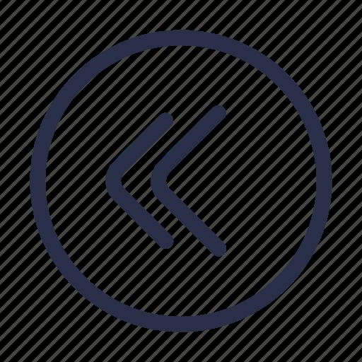 arrow, back, direction, double, left, navigation icon