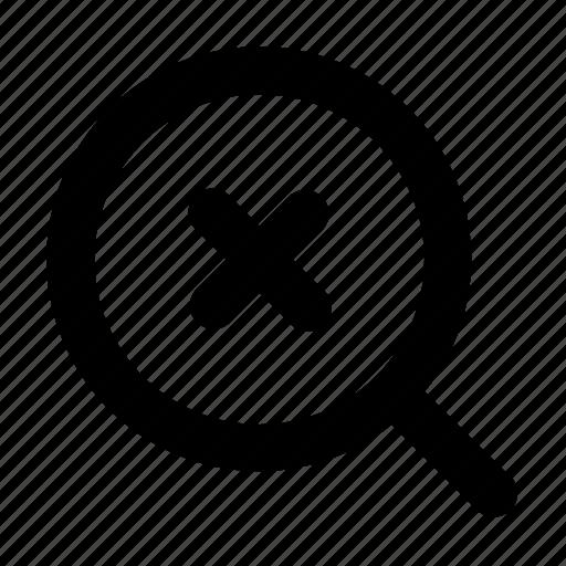 cross, failed, search, search fail icon