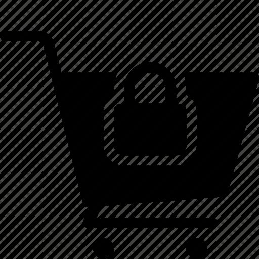 cart, commerce, ecommerce, lock icon