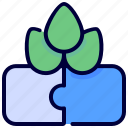 ecologism, ecology, environment, leaf, puzzle, solution icon