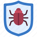 bug, protection, virus, shield, protected icon