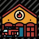 architecture, building, firemen, firestation, firetruck