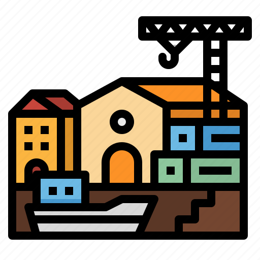 cargo, crane, delivery, port, ship icon