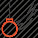 ball, motion, pendulum, swing, tied icon