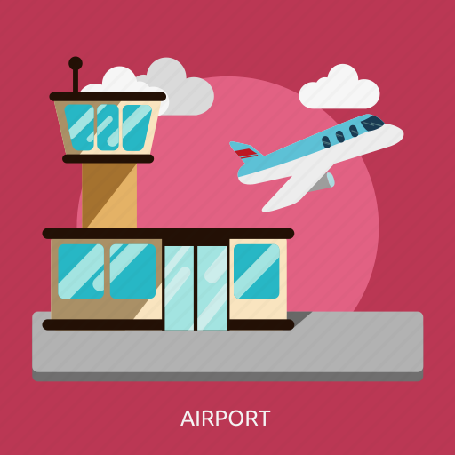 aircraft, airport, building, construction, plane, tower icon