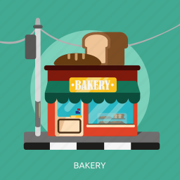 bakery, building, cafe, construction, food, pastry icon