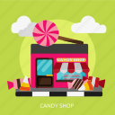 building, candy, construction, food, lollipop, shop, sweet icon