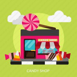 building, candy, construction, food, lollipop, shop, sweet icon