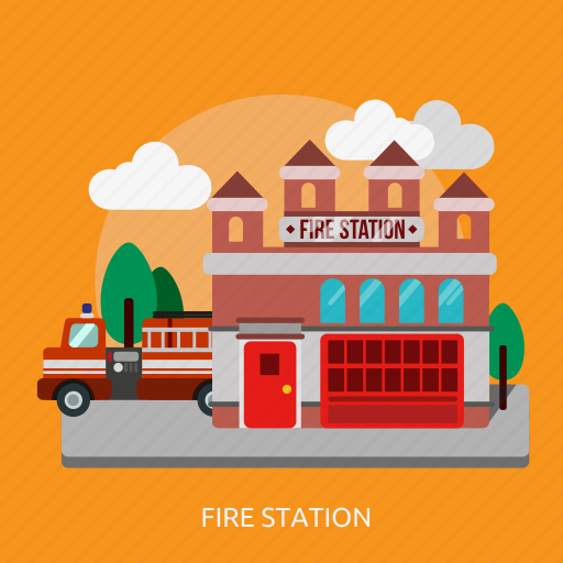 building, construction, emergency, fire, firefighter, office, station icon
