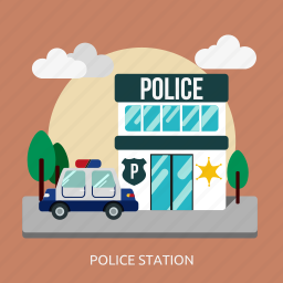 building, construction, cop, crime, law, police, station icon