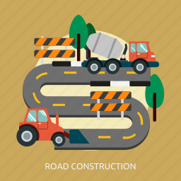 building, construction, road icon