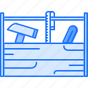 box, building, hammer, measuring, repairs, tape, tool icon