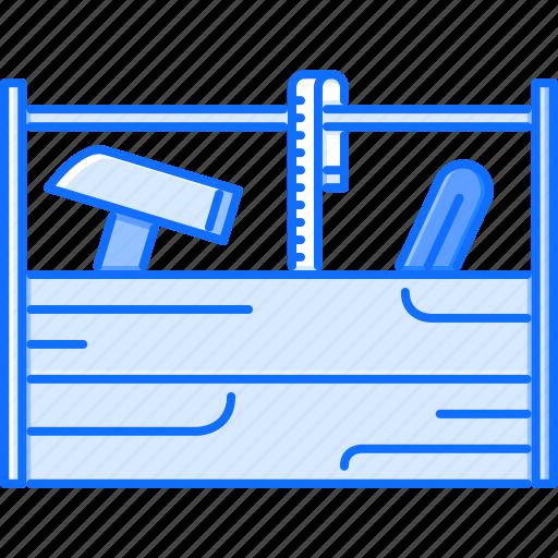 box, building, hammer, measuring, repairs, tape, tool icon