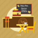 building, cafe, chair, design, interior, menu, table icon