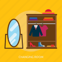 building, changing, interior, room, changing room