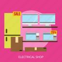 building, electrical, electrical shop, interior, shop icon