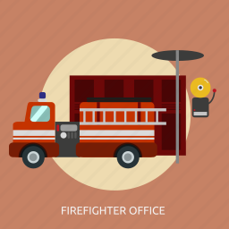 building, firefighter, firefighter office, interior, office icon
