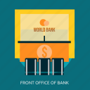 bank, building, front, front office of bank, interior, office icon