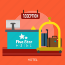 bed, building, hotel, interior, service, vacation icon