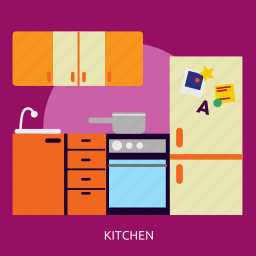building, cooking, design, furniture, interior, kitchen, table icon