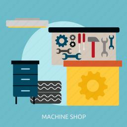 building, interior, machine, machine shop, shop icon