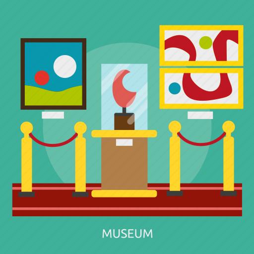 building, collection, exhibition, gallery, interior, museum, visitors icon