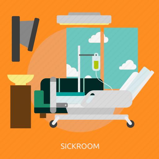 building, interior, medical, medicine, patient, recovery, sickroom icon