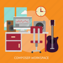 building, composer, interior, workspace, workspace composer icon