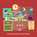 building, interior, programer, workspace, workspace programer icon