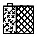 grid, building, material, metallic, armature, styrofoam, bitumen