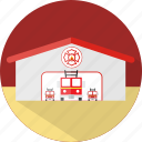 building, emergency, fire, fire department, fire station, flame, help icon