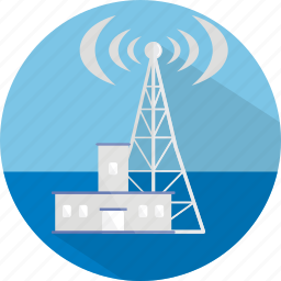 building, comunication, radio, radio station, signal, station icon
