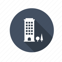 apartment, building, business, construction, downtown, flats, office, real estate, tower, tree, work icon