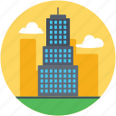 apartments, city building, city skyline, residential flats, skyscraper icon