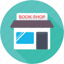 book shop, book store, bookselling, bookstall, stationery shop icon