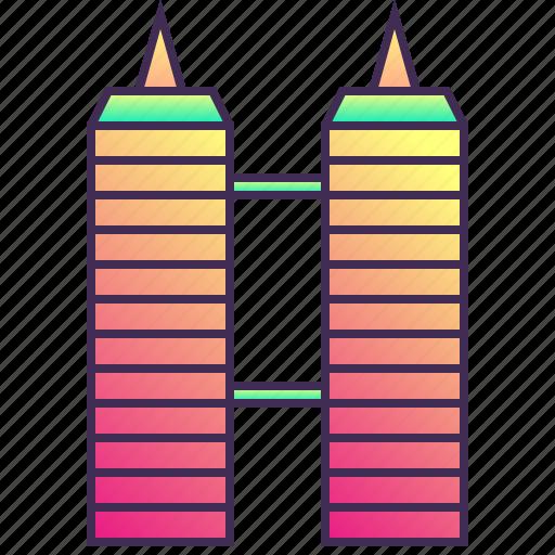 building, company, enterprise, headquarter, skyscraper, twin icon
