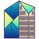 building, city, enterprise, futuristic, geometric, modern icon