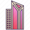 building, city, enterprise, futuristic, modern, triangle icon