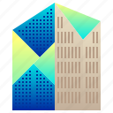 building, city, enterprise, futuristic, geometric, modern icon