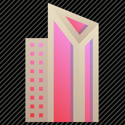 building, city, enterprise, futuristic, modern, triangle icon