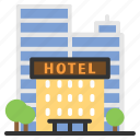apartment, architecture, building, buildings, estate, hotel, lodging icon